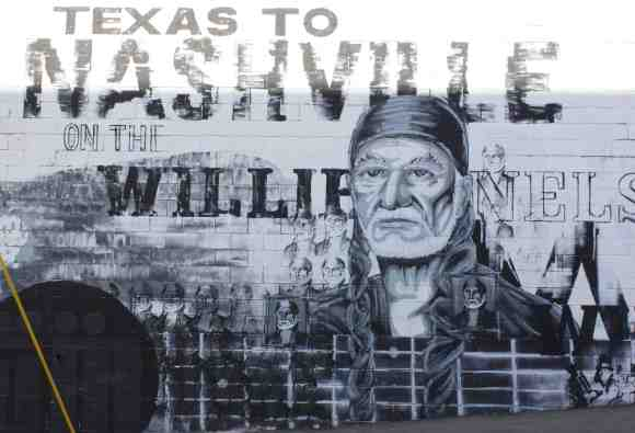 the mural outside our hotel, a nice connection from Austin to NVille